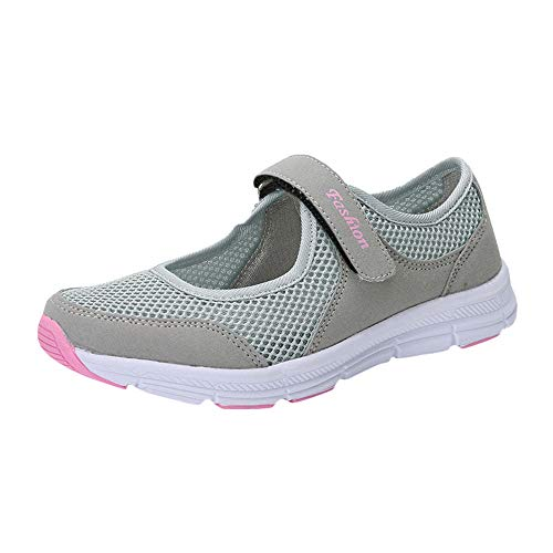 Qmber Damen Fitness Laufschuhe Sportschuhe Schnüren Running Sneaker Netz Gym Schuhe Unisex Erwachsene Light Runner Shoe Low Top Mesh Klettverschluss Sandals/Gray,42