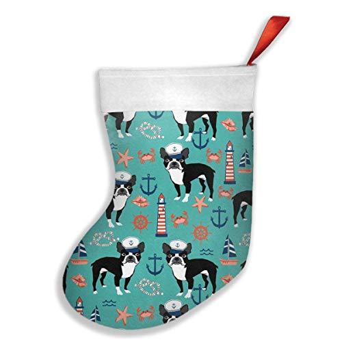 Boston Kamin (New Boston Terrier Weihnachtsstrümpfe, Weihnachten, Party, Kamin, Dekoration, Dekoration für Kinder, Geschenk für Strumpf, Baum)