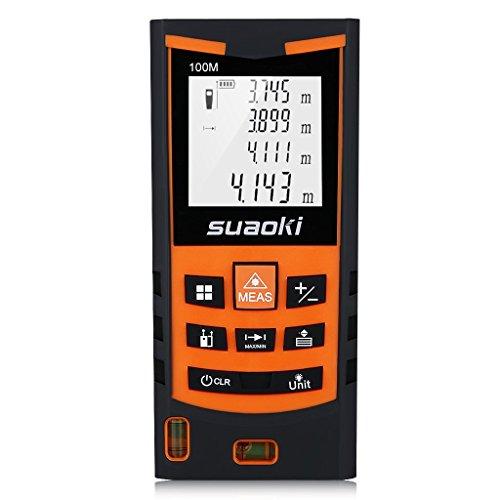 Suaoki S9 100m Laser-Entfernungsmesser, ±1,5mm Messgenauigkeit, Laser Distanzmessgerät mit LCD Display Entfernungsmessergerät