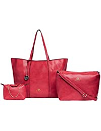 Diana Korr Women's Handbag With Sling (Red) (Set Of 3) (DK128CRED)