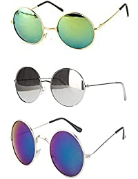 Younky Uv Protected Combo Of 3 Round Men's, Women's, Boy's, Girl's Sunglasses - (Ynk-Rgrn-Rslvr-Rblu 55 Silver)