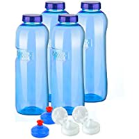 4x Original Kavo Drink Botella de tritano 100% Sin plastificantes en Set ahorro: 4x 1litro (redondo) + 4Estándar Tapa + 2Sport Tapa (FlipTop) + 2–Tapa (Push Pull) Agua Botella de N Sport de N sin plastificantes sin plastificantes sin contaminantes libre de BPA libre BPS phtalath geruchsfrei y insípido de Austria botellas Deportes botellas de botellas de agua para Escuela Deporte Yoga Senderismo Viajes Oficina Uni Auto o de viaje.