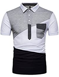 T-Shirt Imprimé Homme Polo Patchwork à Manches Courtes à Trois Boutons  Mince D  97b4fd4ca801