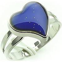 fablcrew creativo anillo chapado en plata de corazón cambia de color Anillo Ajustable Anillo para mujeres hombres