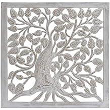 DRW Cuadro Madera árbol de la Vida Madera Blanco decapado 60x60 cm