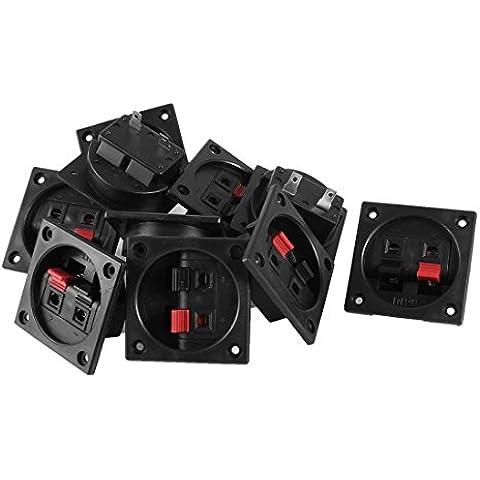 Rojo Negro 10pcs empujar hacia adentro el tipo 2 Posición Plaza de la tarjeta de terminales de