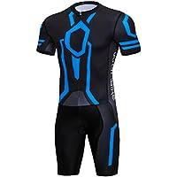 logas Herren Kurzarm Triathlon Skinsuit Breath Triathlon Rennanzug für Sport im Freien Radfahren, Schwimmen, Laufen