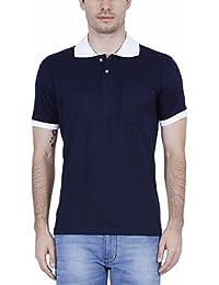 Fleximaa Men's Cotton Polo Collar(CFO) T-Shirts Navy Blue Color