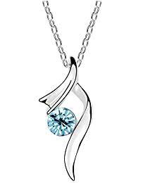 Silver Shoppee Silver Blue Rhodium Plated Cubic Zirconia Alloy Pendant For Girls