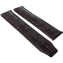 Maurice Lacroix Pontos XL–Louisiana de piel de cocodrilo piel banda Repuesto–sin emblema en color marrón 2/934, puente ancho: 20mm