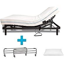 Duermete Cama Eléctrica Articulada Reforzada 5 Planos + Colchón Viscoelástico + Barandillas + Almohada Tacto Seda
