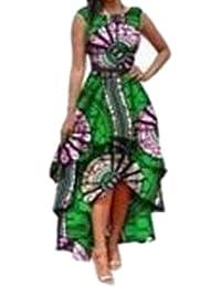 Honghu Mujeres Vestido Africano Irregular Boho Vestido sin Mangas Largos Vestidos Maxi Vestido de Fiesta