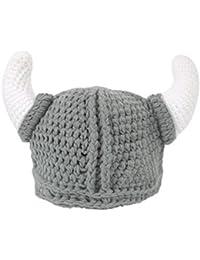 1abcad6a444563 Ypser Cute Bull Horn Beanie Cap Handmade Knitted Viking Crochet Hats