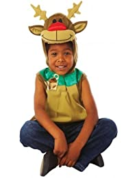 Kids Reindeer Rudolph Tabard Girls Boys Fancy Dress Costume Outfit Childrens Party Outfit 3-5 Years