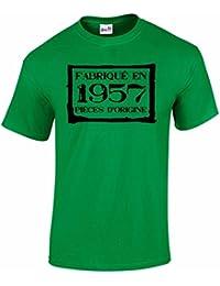 T-Shirt Anniversaire Homme 60 Ans Fabriqué En 1957 Pièces d'Origine