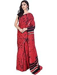 Tanya Red And Black Pure Cotton Mulmul Batik Hand Block Printed Saree