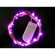 HLS 30 LED Kupferdraht Batterie Lichterkette in rosa