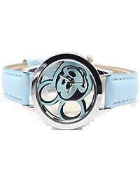 GIO457 Reloj Analogico Cuarzo Mickey Mouse Pulsera Cuero Divertido Alegre Regalo Cumpleaños para su Mujer Esposa
