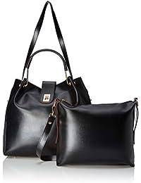 Verobelle Women's Handbag & Sling Bag Combo (Black) (Set of 2)