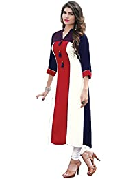 HARI OM CREATION Women's Cotton & Crush Semi-Sitched Kurti (Free Size)