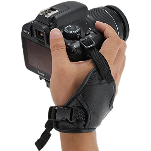 Cuero Correa de mano Grip para Nikon Canon Pentax DC8.