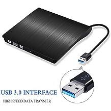 Lecteur de DVD externe Portable USB 3.0 CD DVD-RW Graveur avec câble USB embarqué pour Mac Air / Pro Desktop pour ordinateur portable, Noir [Version de mise à niveau]