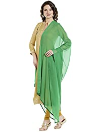 Dupatta Bazaar Woman's Green Chiffon Dupatta With Beaded Lace