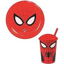 LotMart Kids con licencia plástico platos y vasos con pajitas niños niñas superhéroes personajes de dibujos