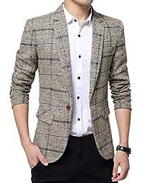 Juleya Giacca da Uomo Blazer Casuale Formale Giacca Slim da Uomo Retro One  Button Elegante Vestito be7ab68b998