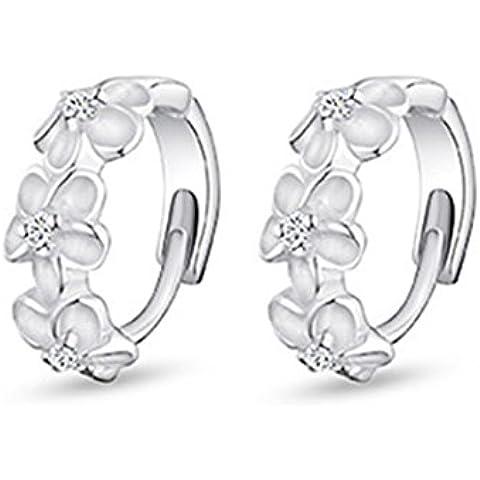 Tiempo Pawnshop flor plata de ley Simple Lady pendientes de aro