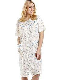 Chemise de nuit boutonnée à manches courtes - motif floral - lilas/bleu
