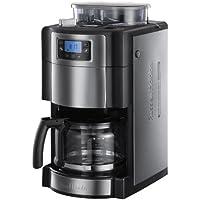 Russell Hobbs 20060-56 Buckingham Grind & Brew Digitale Glas-Kaffeemaschine mit integriertem Mahlwerk (1000 Watt) schwarz/silber