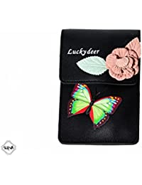 Sceva Casual PU Leather Butterfly Pattern Black Sling Bag With Adjustable Compartment & Strap For Women & Girls
