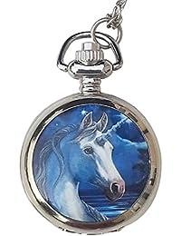 Una sagrada - unicornio Mini reloj de bolsillo /collar - plateado con emparejar cadena 18