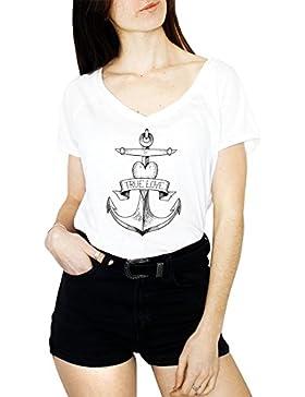 VIENTO True Love Camiseta de Pico para Mujer