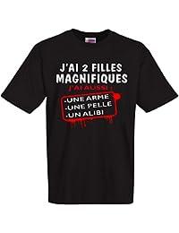 """Tee shirt noir """"j'ai 2 filles magnifiques"""" ideal pour fête des pères tailles du S au 4XL 100% Coton"""