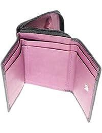 Mesdames polyvalent souple en cuir véritable Porte-cartes Compact bourse de portefeuille et de crédit Avec Zip en place Porte-monnaie / Section - Contient 3 Cartes de crédit - Couleur Noir & Violet