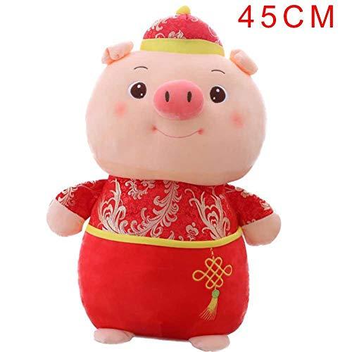 Jahr des Schwein-Maskottchen-Plüsch-Spielzeug-Tierkreis-Schwein Puppe Karikatur kleinen Geschenks. süßes festliches Schweinplüschspielzeug trägt einen Tang-Anzug eine kleine Mütze. viel Glück für ()