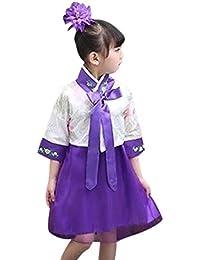 25d9328eb BOZEVON Vestidos Tradicionales Coreanos - Chicas Jóvenes Adultos Clásico  Antiguo Floral Media Manga Hanbok