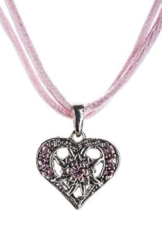 Trachtenkette Herzglühen elegantes Herz mit Strass und Satinban in vielen Farben - Anhänger Trachtenschmuck Kette für Dirndl und Lederhose Damen (Rosa)