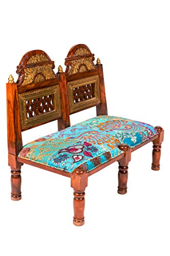 Orientalische Sitzbank aus Holz Mahal Blau 95cm groß mit Messing | Vintage Bank zum klappen für den Flur | Patchwork Hocker im Kinderzimmer | Stuhl auf Balkon oder Deko im Schlafzimmer -