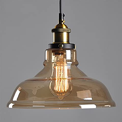 Vintage Retro Aamber Glass Shade 40W Ceiling Chandelier Pendant Lamp Light E27 Edison Bulbs 220V Home Indoor Decorative Bulbs