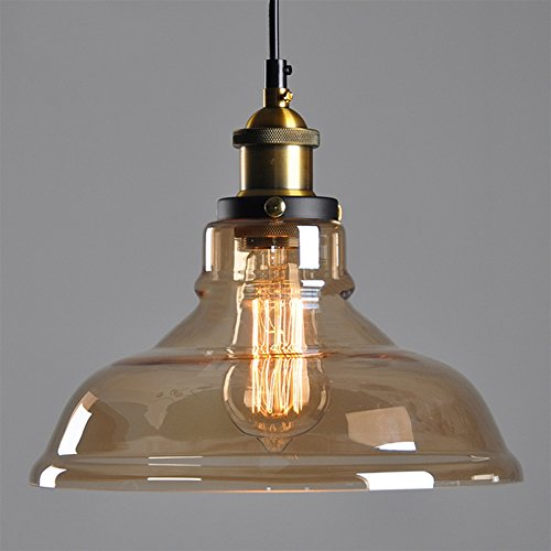 Amber Glass Lamp Shade Retro Ceiling Lamp Vintage Light Fitting Pendant Light