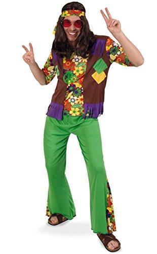 70er Boy Jahre Kostüm - KarnevalsTeufel Hippie Boy zweiteiliges Hippiekostüm Flower-Power-Outfit Hippie-Stinband (XL)