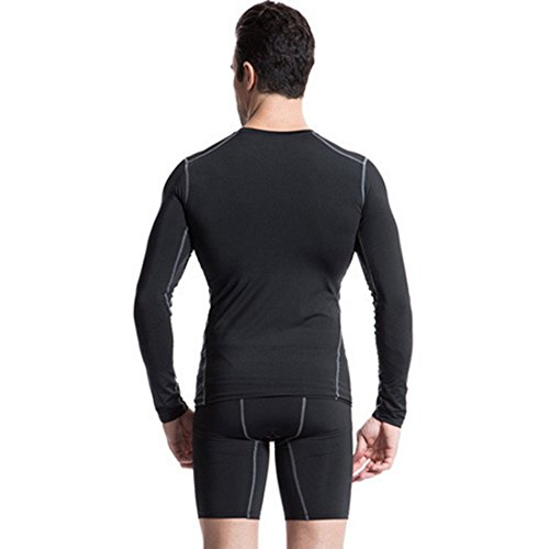 Vertvie Herren Pro Sport Langarmshirt Kompressionsshirt Muskelshirt Schwarz