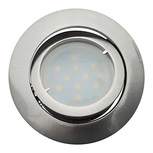 Lot de 6 Spot Led Encastrable Complete Satin Orientable lumière Blanc Chaud eq. 50W ref.209