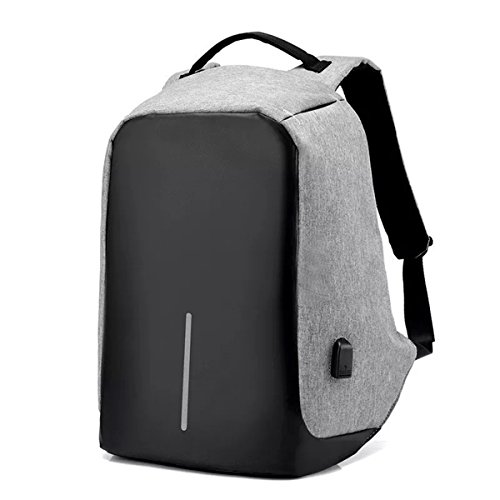 Fur Jaden Grey Anti Theft Waterproof Laptop Backpack Bag for Men with USB Charging Point