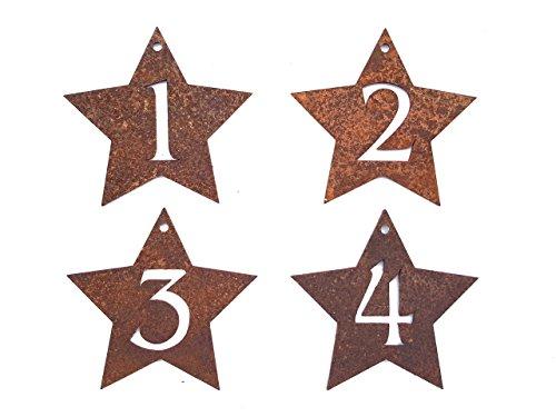 Edelrost Adventskranz Zahlen 1 - 4 in Form eines Sternes - Wunderschöner Rost-Bastel-Artikel für einzigartige Adventskerzen