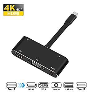 USB-C Digital AV Multiport Adapter USB C to VGA (1080P/19201200) / Hdmi (Up to 4k)/USB 3.0 Adapter and Audio Adapter with USB-C Charger Adapter Compatible with Apple MacBook/Nintendo Switch