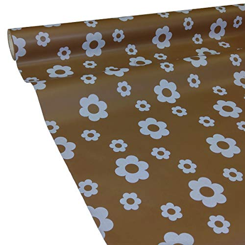 50m x 1,00m JUNOPAX® Papiertischdecke Blüte braun | nass- und wischfest